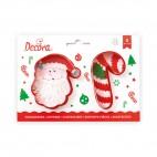 Kit 2 cortadores Papá Noel y bastón caramelo