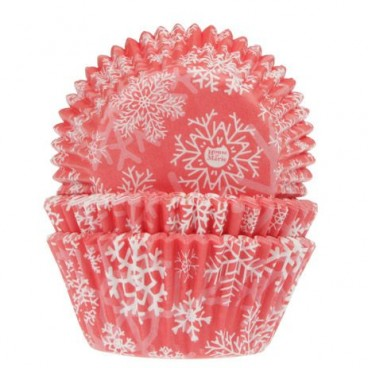 Cápsulas cupcakes copos de nieve rojas