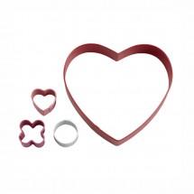 Set de cortadores corazón 3 en raya