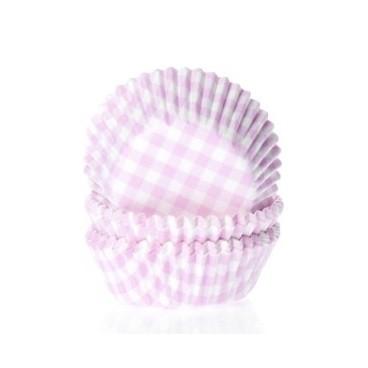 Cápsulas mini cupcakes vichy blanco y rosa. HoM.