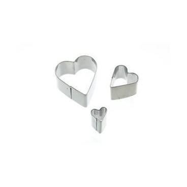 Set de 3 mini cortadores corazón